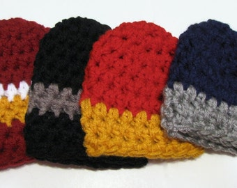 Boy Beanie Hat - Crochet Chunky Style - Choose Your Favorite Sports Colors - also available in other sizes