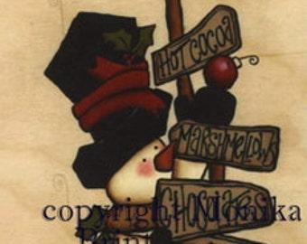 Hot Chocolate Winters-Yard Art-Primitive Snowman-DIY-Woodworking Seasonal-Holiday Decor-Hand Made