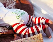 Red and White Striped Christmas Leg Warmers for Infants and Toddlers