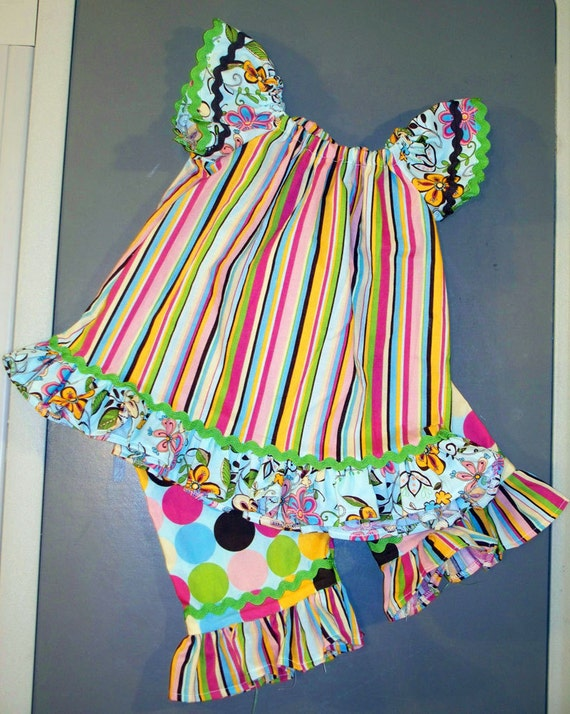 Cap Sleeve , bottom ruffle peasant set with matching ruffle bottom capris in 2T or 3T