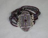 Deep Purple Haze - Silver and Purple Beaded Bracelet - HANDMADE