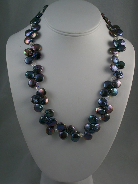 Iris Buds - Peacock Freshwater Coin Pearl & Silver Flower Clasp Necklace - HANDMADE