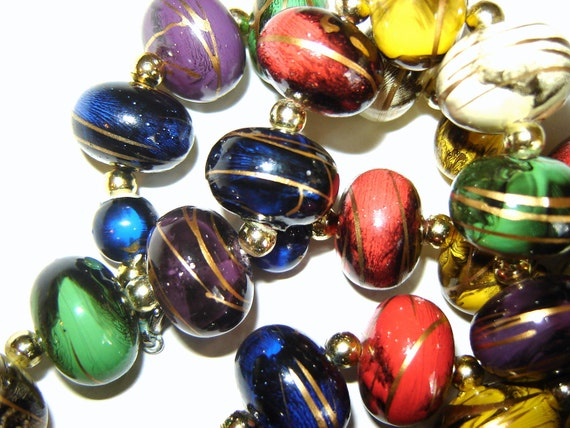 Vintage Lucite Bold Necklace in  Multi Color Beads with Gold Swirls