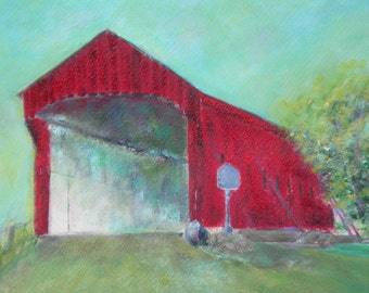"Original oil painting, Landscape ""Red Covered Bridge"""