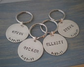 key chain - groomsmen gift  - personalized hand stamped  sterling silver key ring - set of 4