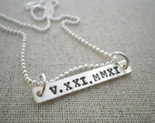 roman numeral necklace, date stamped necklace, hand stamped sterling silver, personalized date necklace, rectangle date pendant