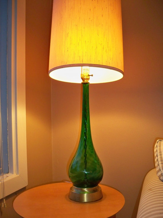 Mid Century Italian Glass Tall Table Lamp Emerald Green Empoli