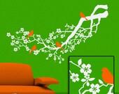 White Tree Wall Decal: Flowering Apple Blossom Tree Branch with Orange Birds, Decor, Woodland Decor, Nature Decor
