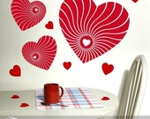 Vinyl Wall Art Decals: Vertigo Red Hearts Valentine Decorations or for Anyone that Loves Hearts