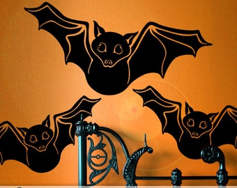 Flying Black Bats Wall Decal for Halloween Fall Decor