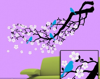 Tree Wall Decal, Cherry Blossom Decal Tree Branch Wall Sticker, Nature Wall Decal with birds & flowers Vinyl Wall Decals (0172c18v)
