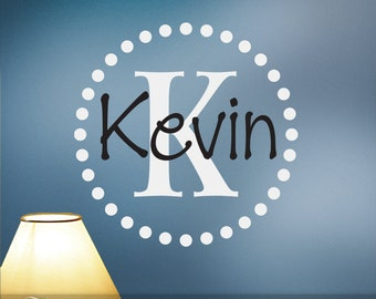 Personalized Vinyl Monogram Wall Decal Initial and Name with Circle of Dots (0174d2v)
