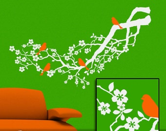 White Tree Wall Decal: Flowering Apple Blossom Tree Branch with Orange Birds, Decor, Woodland Decor, Nature Decor