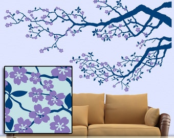 Cherry Tree Wall Decal, Tree Branch Decal, Cherry Blossom Decal, Tree Decal Nursery, Over Couch Bed Decor, Woodland Decal (0172c55v-rc)