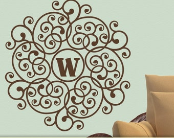 Mandala Monogram Decal: Personalized Lacy Doily Wall Decal Circle Design with Custom Initial  (0177a2v)