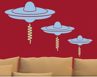 UFO Decal - Alien UFO Spaceship Wall Decal, Vinyl Wall Decal, Outerspace Decor, Outer Space Wall Decal, Kids Wall Art, Kids Room Decor