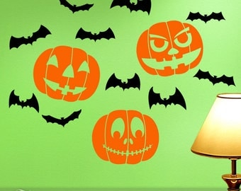 Halloween Wall Decals: Jack O Lantern Pumpkins and Creepy Bats, Orange and Black Vinyl, Fall Decor Indoors or Outdoors
