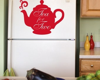 Teapot Vinyl Wall Decal: Red Tea Kettle, Tea For Two Cute Kitchen Decor (0177a1v)