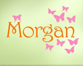 Custom Name Vinyl Butterfly Wall Decal, Bedroom Decor: Orange and Pink for Girls, Teens, Toddlers, Baby, Nursery Butterfly Wall Decal
