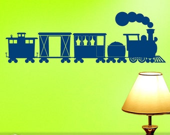 Wall Decal Train Decoration | Choo Choo Train Vinyl Wall Decal | Train Cars & Caboose | Kids Playroom Decor | Kids Bedroom Decal