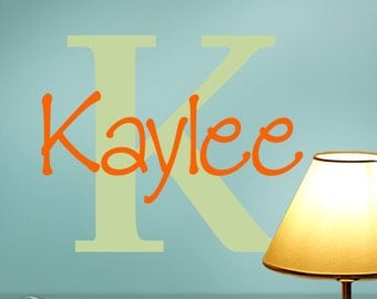 Custom wall Decal Monogram Initial and Name, Shown: Kaylee (0171b16v-r2)