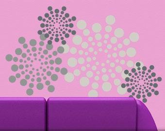 Retro Wall Decor, Circle Wall Decals, Polka Dot Decals, Shades of Grey Wall Pattern, Geometric Vinyl Wall Decal