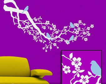 Vinyl Wall Decal: Cherry Blossom Tree Branch in White with Blue Birds (Bluebirds)