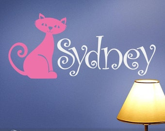 Kids Name Vinyl Wall Decal Custom Name With Cat, Kitten for Nursery Wall Decor