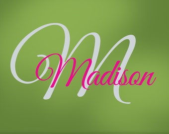 Girls Monogram Vinyl Wall Decals, Name & Initial for Your Bedroom Decor, Baby Nursery, Toddler, Custom Wall Art, Madison