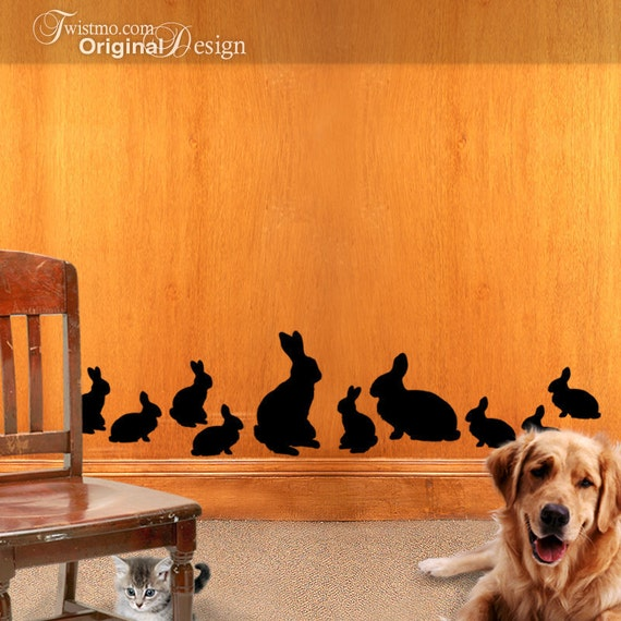 Vinyl Wall Decal Silhouettes - Country Easter Bunny Rabbits Family of 10, Decor, Nature Decor, Woodland Decor