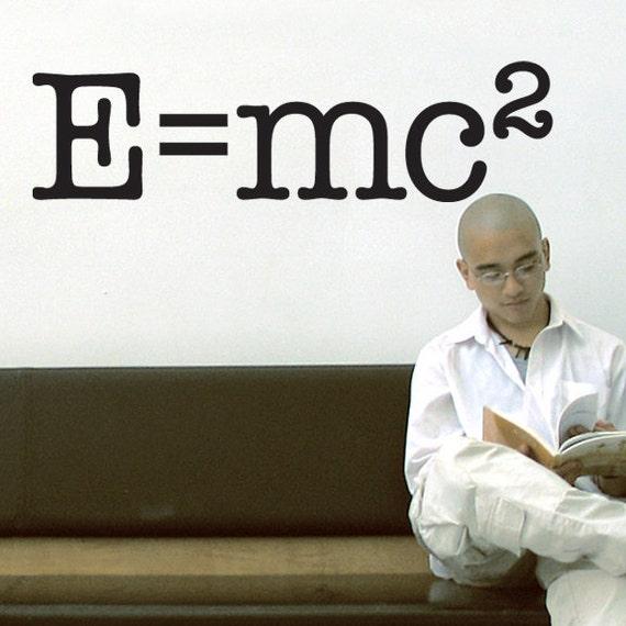 Science Nerd Educational Words Vinyl Wall Decal: E equals mc2, Albert Einstein