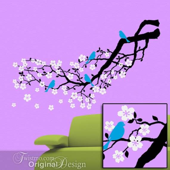 White Tree Branch Cherry Blossom Decal With Bluebirds for Spring Wall Decor