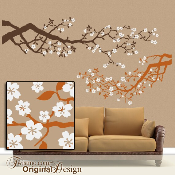 Cherry Blossom Wall Decal, Tree Wall Decal, Tree Branch Decal,  Woodland Wall Decal, Tree Branch Nursery, Spring Vinyl Decal