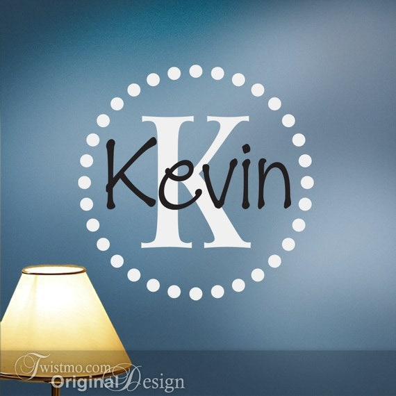 Vinyl Monogram Wall Decal Initial and Name with Circle of Dots