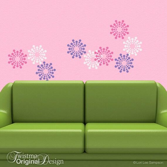 Vinyl Wall Pattern Decals: Polka Dot Burst Blossom Art Designs (shown in Pink, Lavender, White)