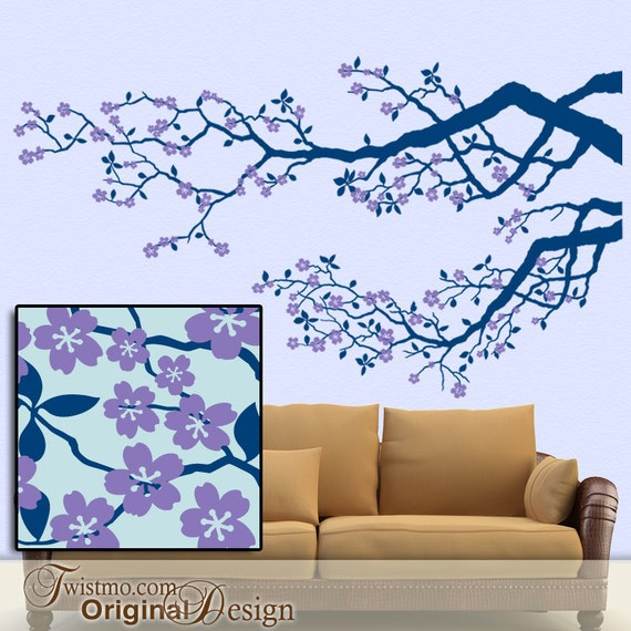 Cherry Tree Wall Decal, Tree Branch Decal, Cherry Blossom Decal, Tree Decal Nursery, Over Couch Bed Decor, Woodland Decal (0172c55v-r4c)