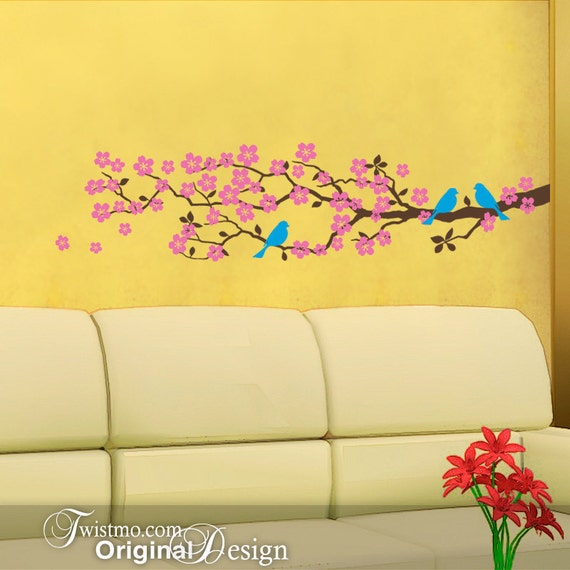 Cherry Blossoms Vinyl Wall Decal: Tree Branch, Birds, Flowers