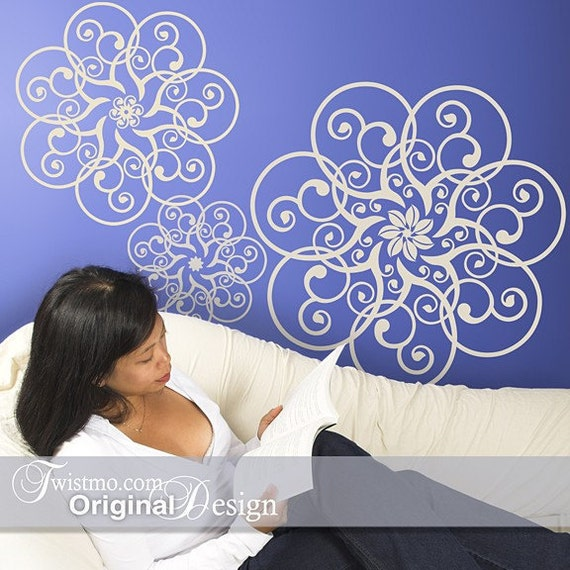 Vinyl Wall Decal Art - 3 Different Circular Mandala Lace Doily Designs