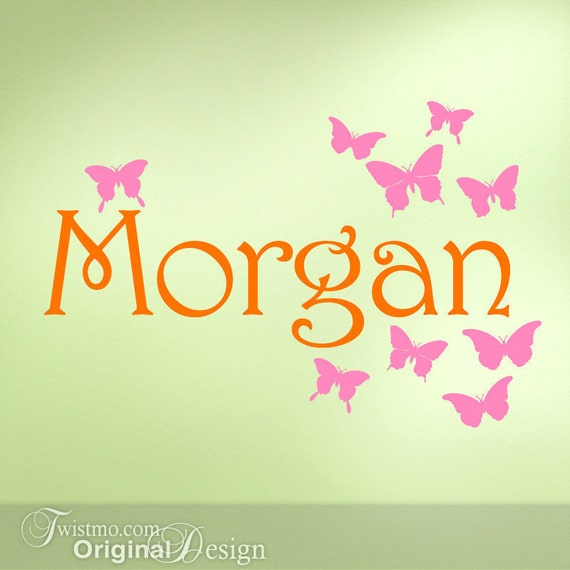 custom name vinyl butterfly wall decal bedroom decor orange and pink
