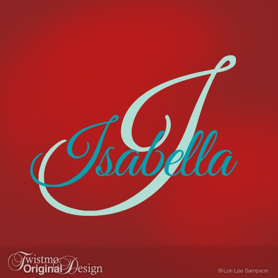 Girls Monogram Vinyl Wall Decals, Name & Initial for Your Bedroom Decor, Baby Nursery, Toddler, Custom Wall Art, Isabella