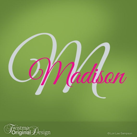 Girls Monogram Vinyl Wall Decals Name Amp Initial For Your