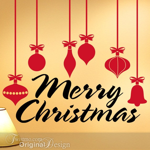 Retro Style Christmas Ornaments Vinyl Wall Decals with Merry Christmas Greeting, Christmas Decoration, Holiday Decoration