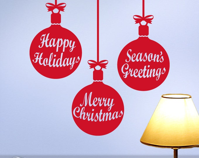 Christmas Ornaments Wall Decals, Holiday Decorations, Vinyl Wall Decals, Seasons Greetings, Happy Holidays, Merry Christmas