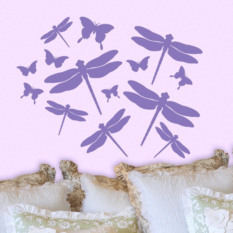 Dragonfly butterfly wall decals room decor bedroom by for Butterfly wall mural stickers