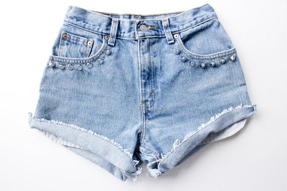 Upcycled LEVI'S Studded Cut Off Shorts