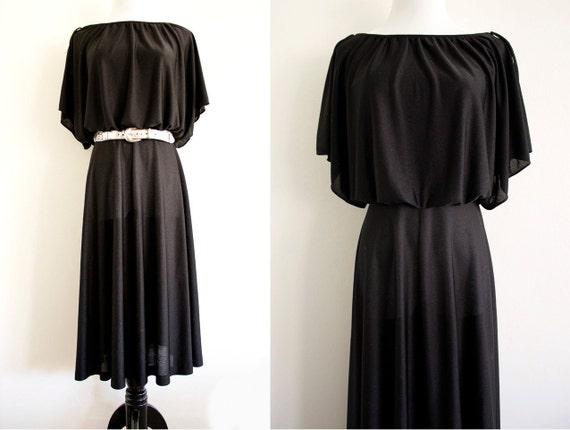 Vintage 70s Black Draped Dress S/M