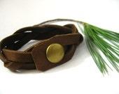 Genuine Brown Deerskin leather Bracelet - Mystery Braid  with Antiqued Brass snap