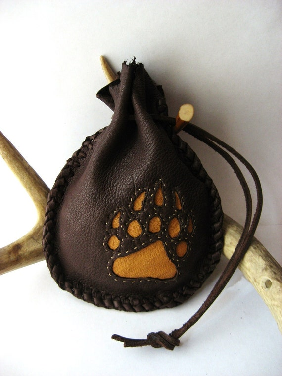 Bear Totem medicine bag, medium sized brown deerskin leather pouch with antler toggle and appliqued paw print