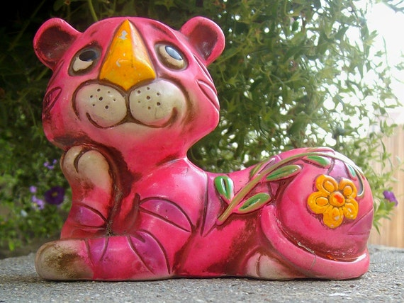 psychedelic pink purple striped tiger bank