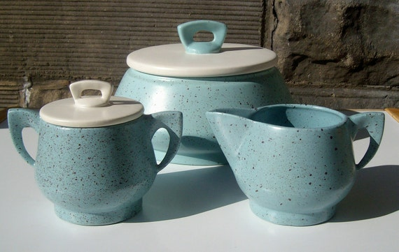 Cream Sugar and Cookie Jar in blue speckled California Pottery 1956
